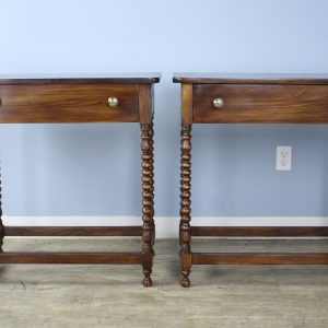 Pair of Bobbin Turned Leg Side Tables, Custom Made of Old Wood