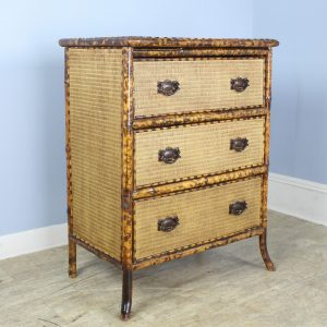 Antique Bamboo and Rattan Chest of Drawers with Lacquered Top