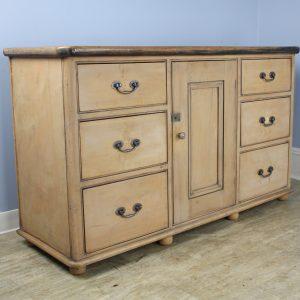 Victorian Pine Dresser Base, Rubbed Back Original Paint