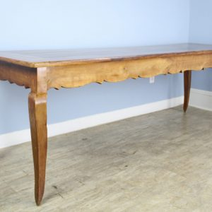 Antique Cabriole Leg Cherry Dining Table with Carved Apron