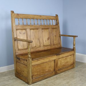Welsh Country Pine Box Settle in Fruitwood