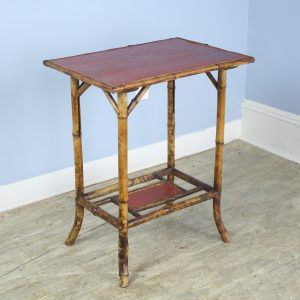 Antique English Mock Crocodile Leather Topped Bamboo Side Table