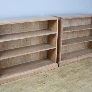 Pair of English Limed Oak Bookcases