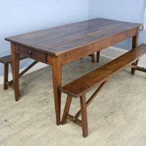Antique Country Oak Farm Table with Two Matching Benches