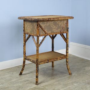 Antique Bamboo Side Table with Storage Box