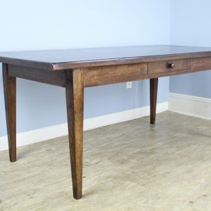 Antique French Farm Table with One Drawer and Thick Top