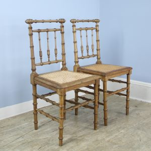 Pair of Faux Bamboo Hall Chairs