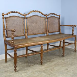 Large Three Seat Turned Walnut Bench with Caned Seat and Backrest
