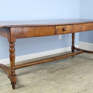 Early 19th Century Farm Table with Turned Legs and Stretcher Base