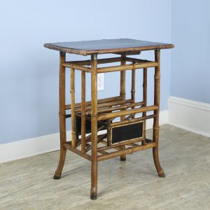 Antique Bamboo Side Table with Magazine Rack