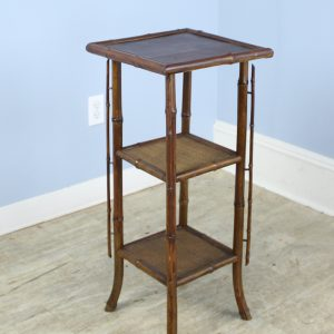 Antique Bamboo Side Table with Vertical Detail