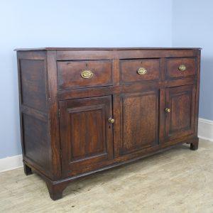 Welsh Oak Two Door Dresser Base, Mahogany Crossbanding and Original Brasses