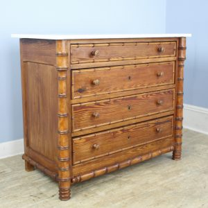 French Faux Bamboo Commode with White Marble Top