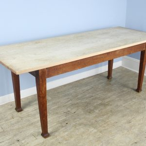 Arts & Crafts Oak Farmhouse Table with Bleached Top