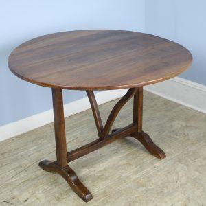 Antique Round Walnut Vendange/Wine Table